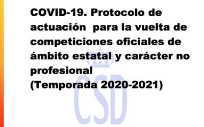 Nuevo protocolo nacional para la vuelta de competiciones oficiales